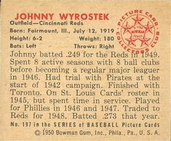 1950 Bowman #197 Johnny Wyrostek back image
