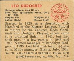 1950 Bowman #220 Leo Durocher MG back image