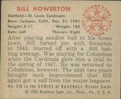 1950 Bowman #239 Bill Howerton RC back image