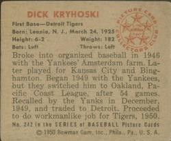 1950 Bowman #242 Dick Kryhoski back image