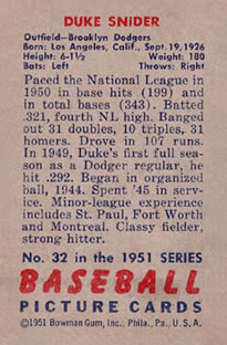 1951 Bowman #32 Duke Snider back image