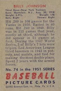 1951 Bowman #74 Billy Johnson back image