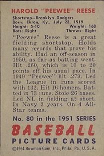 1951 Bowman #80 Pee Wee Reese back image