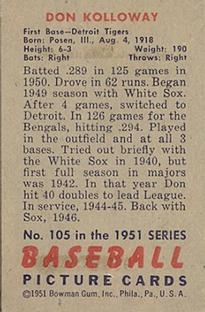1951 Bowman #105 Don Kolloway back image
