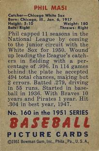 1951 Bowman #160 Phil Masi back image