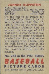 1951 Bowman #248 Johnny Klippstein RC