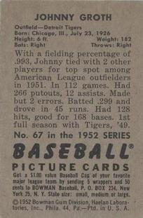 1952 Bowman #67 Johnny Groth back image
