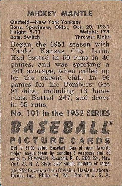 1952 Bowman #101 Mickey Mantle back image