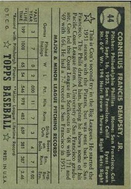 1952 Topps #44A Con Dempsey Black RC