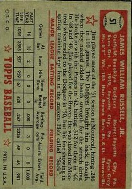 1952 Topps #51 Jim Russell