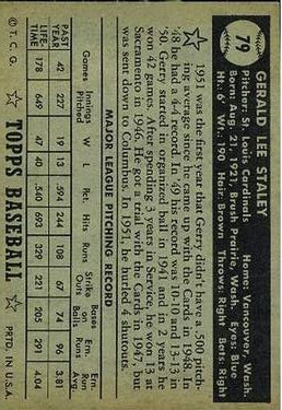 1952 Topps #79A Gerry Staley Black back image