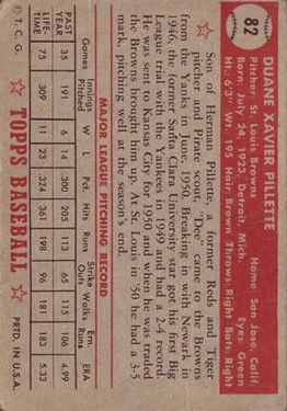 1952 Topps #82 Duane Pillette back image