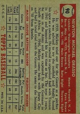 1952 Topps #90 Mickey Grasso back image