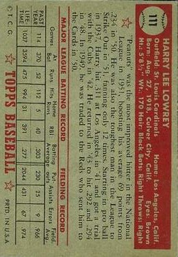 1952 Topps #111 Peanuts Lowrey