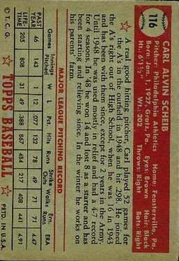 1952 Topps #116 Carl Scheib back image