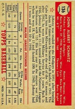 1952 Topps #136 Johnny Schmitz back image