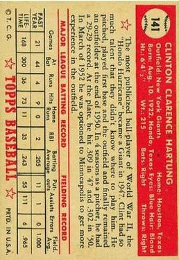 1952 Topps #141 Clint Hartung back image