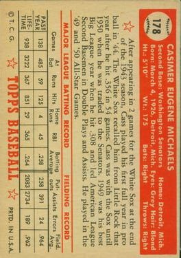 1952 Topps #178 Cass Michaels back image