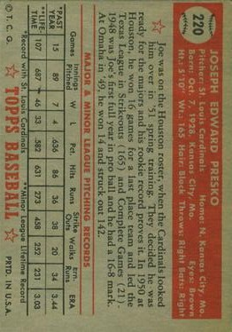 1952 Topps #220 Joe Presko RC back image