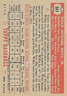 1952 Topps #261 Willie Mays back image