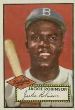 1952 Topps #312 Jackie Robinson DP/Stitching on back number circle points left,/Seven stars and white circle on left side of marquee
