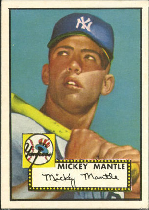 1952 Topps #311B Mickey Mantle DP/Clean marquee along top edge on front,/Last E on facsimile autograph stops at bottom/Stitching on back number circle points right
