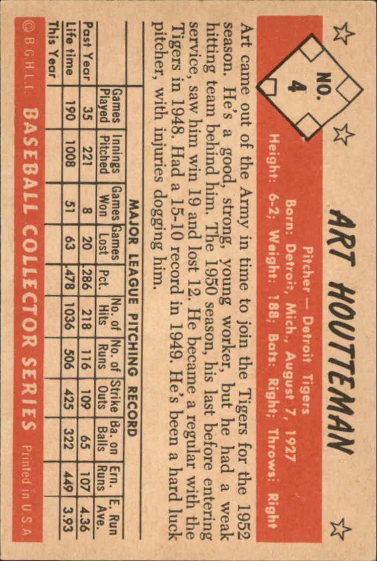 1953 Bowman Color #4 Art Houtteman back image