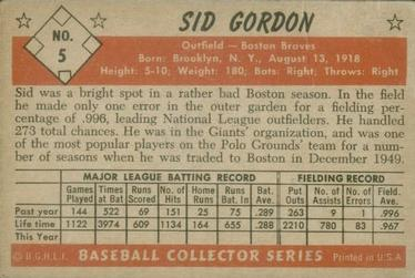 1953 Bowman Color #5 Sid Gordon back image