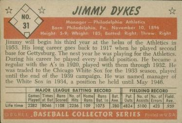 1953 Bowman Color #31 Jimmy Dykes MG back image