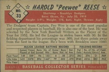 1953 Bowman Color #33 Pee Wee Reese back image