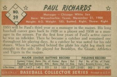 1953 Bowman Color #39 Paul Richards MG