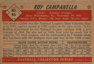 1953 Bowman Color #46 Roy Campanella back image