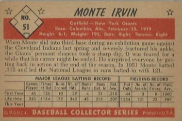 1953 Bowman Color #51 Monte Irvin