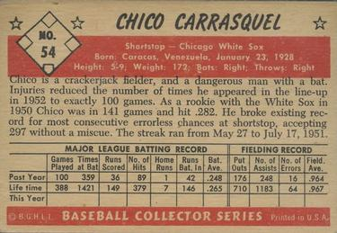 1953 Bowman Color #54 Chico Carrasquel back image