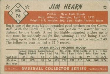 1953 Bowman Color #76 Jim Hearn back image