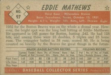 1953 Bowman Color #97 Eddie Mathews