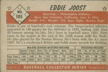 1953 Bowman Color #105 Eddie Joost back image