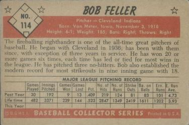 1953 Bowman Color #114 Bob Feller back image