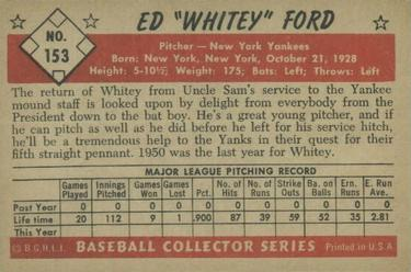 1953 Bowman Color #153 Whitey Ford