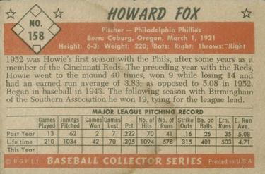 1953 Bowman Color #158 Howard Fox back image