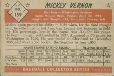 1953 Bowman Color #159 Mickey Vernon UER/Floyd Baker pictured back image