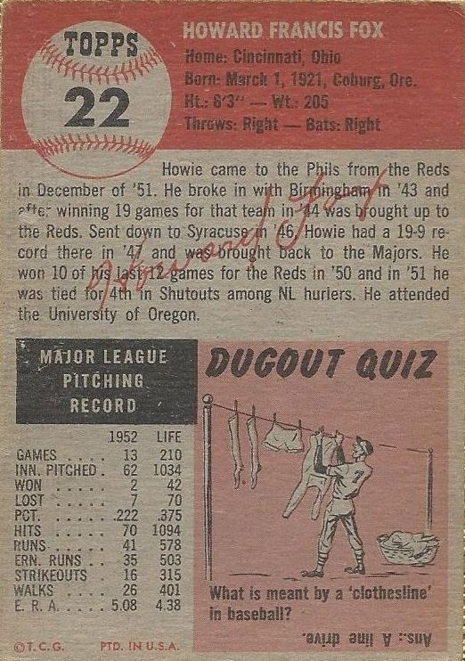 1953 Topps #22 Howie Fox back image