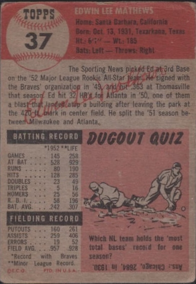 1953 Topps #37 Eddie Mathews DP