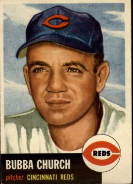 1953 Topps #47 Bubba Church DP