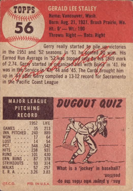 1953 Topps #56 Gerry Staley DP back image