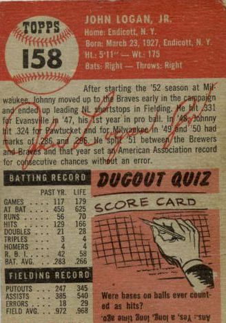 1953 Topps #158 Johnny Logan RC back image