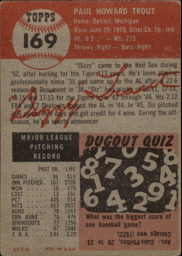 1953 Topps #169 Dizzy Trout back image