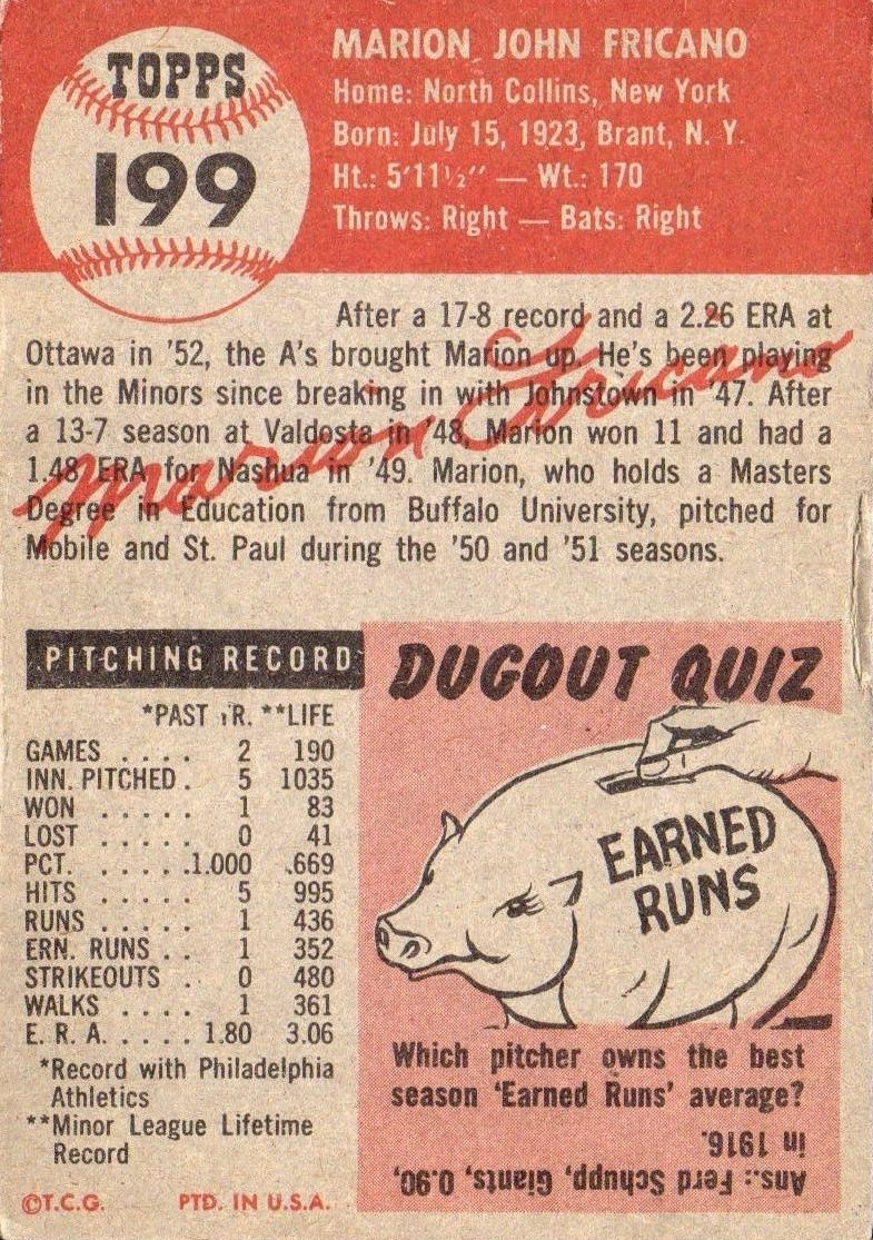 1953 Topps #199 Marion Fricano RC back image