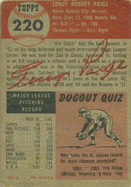 1953 Topps #220 Satchel Paige UER/Misspelled Satchell/on card front back image