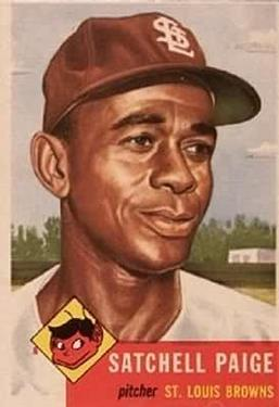 1953 Topps #220 Satchel Paige UER/Misspelled Satchell/on card front